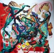 tableau abstrait matiere mouvement poetique : Coeur d'orchidée