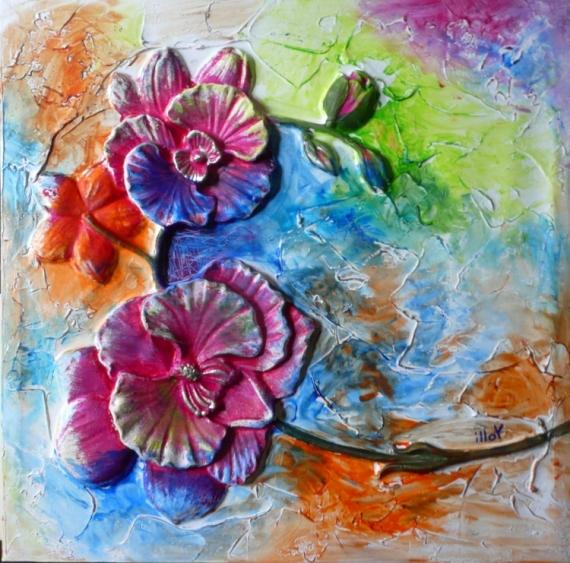 TABLEAU PEINTURE Matière Mouvement Poétique Fleurs Acrylique  - Flashy flowers