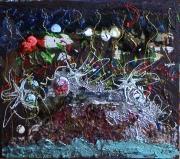 tableau abstrait matieres reliefs poetique : Cannelle meringuée