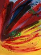 tableau abstrait rouges et jaune reliefs sobriete poetique : Du vent