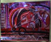 tableau abstrait ludique nuance rouges ronds et lignes poetique : Rouage rouge