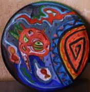 autres abstrait bleuorange relief et paillettes poissonseau poetique : Rondero