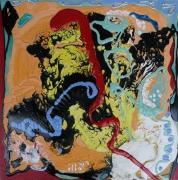 tableau abstrait matiere mouvement poetique : A genoux, debout et en courant