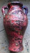 sculpture abstrait deco matiere : Pot rouge