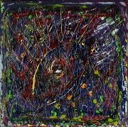 tableau abstrait multireliefs multicolore energie poetique : Interférences