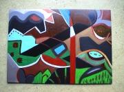 tableau paysages paysage geometrie multicolore abstrait : Thiezac