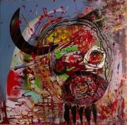 tableau abstrait matieres ludique poetique : Corne d'auroch