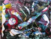 tableau abstrait matiere mouvement poetique : A flux