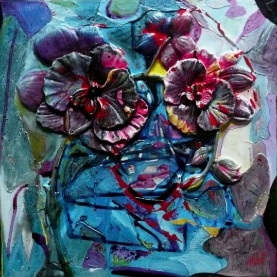 TABLEAU PEINTURE Matière Mouvement Poétique Fleurs Acrylique  - Attentation