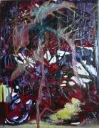 tableau abstrait matiere mouvement poetique : Flash night