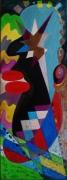 tableau personnages tete portrait abstrait multicolore : Rêverie
