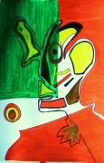 tableau personnages rigolo papier photo tete abstrait : Clownerie