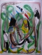 tableau abstrait mouvement poetique : Au veau vert