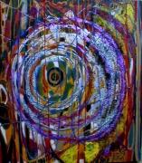 tableau abstrait lignes reliefs spirale poetique : Vitraillé