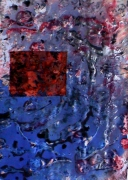 tableau abstrait matieres gelatine brillante argente poetique : Abysses 2