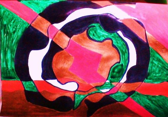 TABLEAU PEINTURE acrylique papier photo mouvement colore Abstrait Acrylique  - Bain dansant