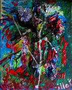 tableau abstrait matiere relief poetique : Auprès de son arbre