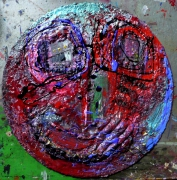 tableau matiere reliefs poetique : Oeil au beurre rose