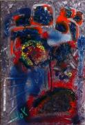 tableau abstrait matiere tete poetique : Mise en pile