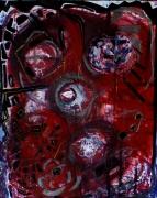 tableau abstrait rouge noir or argent tete reliefs poetique : Red man
