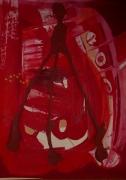 tableau abstrait ludique poetique : Tripode rouge