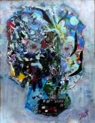 tableau abstrait matiere mouvement poetique : Crâneur
