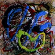tableau abstrait matieres craquelage poetique : Night clown