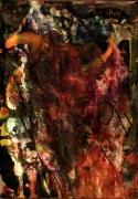 tableau abstrait tete faune couleurs chaudes reflets poetique : Faune en feu