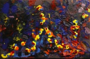 tableau abstrait matiere mouvement poetique : Les mains dans la bloue