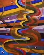tableau abstrait vue d avion multicolore lignes et courbes poetique : D'avion