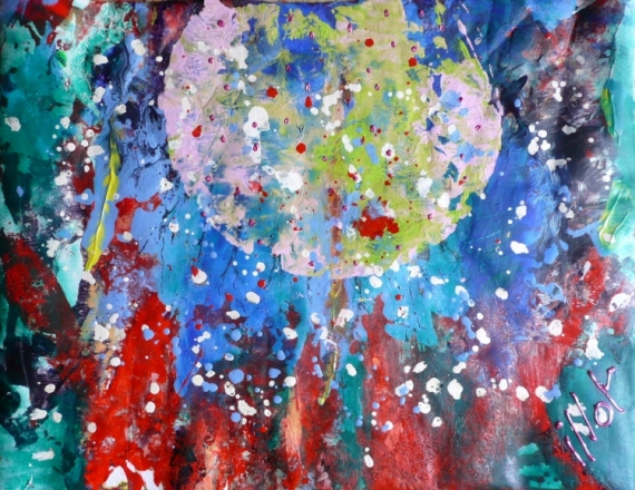TABLEAU PEINTURE Féerie Poétique Abstrait Acrylique  - Bonbonnerie