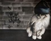 tableau animaux chat aerographie airbrush felin : Iams