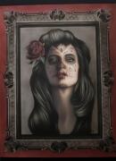 tableau personnages mort mexicaine portrait femme aerographie : Gina