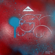 tableau abstrait kerinos street art rouge chat : street beta 3