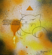 tableau abstrait kerinos abstrait street art jaune : street beta one