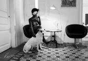 photo scene de genre cafe chien femme : Anima