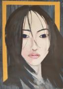 tableau personnages portrait visage femme asiatique : VISAGE FEMME B