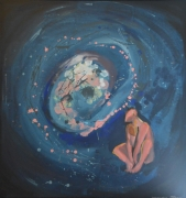 tableau personnages homme galaxie univers paysage : HOMME ASSIS GALAXIE