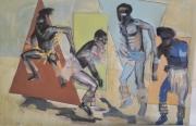 tableau personnages danse tribu afrique rituel : SANS TITRE I