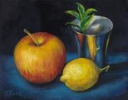 tableau nature morte reflet pomme citron metal : Pomme, Citron, Gobelet en Argent