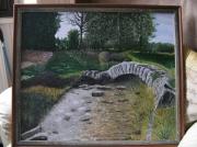 tableau paysages pont riviere creuse limousin : pont de sénoueix