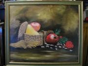 tableau fruits pommes poire chataignes panier osier : nature morte chataigne