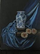 tableau nature morte vase bleu et noire nature morte claire obscure : Nature morte vase