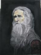tableau personnages portrait visage barbe vielle homme : mon vieux