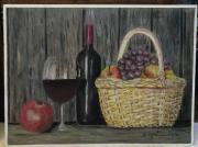 tableau nature morte bouteille et verre panier d osier pommes et raisin : nature morte bouteille de vin