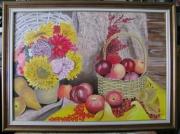 tableau nature morte fleurs pommes nature morte : nature morte bouquet de fleures et panier de pommes
