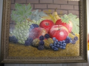 tableau nature morte pommes raisin mures noix : nature morte raisins mûres et noix