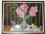 tableau fleurs vase fleur glaieul : Bouquet de glaieul
