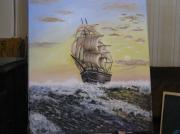 tableau marine bateau ocean vagues : bateau