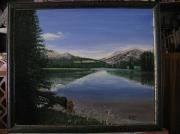 tableau paysages montagne lac : paysage
